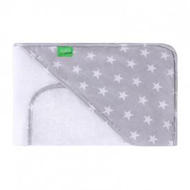 Capa de baño + toalla Estrellas Gris/Blanco - 80x100cm