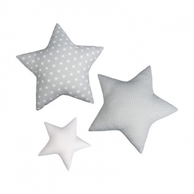 3 cojines Estrellas Gris - 60/30cm