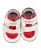 Chaussons en cuir Basket scratchs - Blanc/Rouge